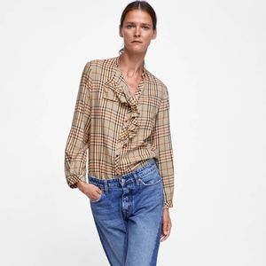 Zara Woman Brown Plaid Shirt with Ruffles NEW -  S